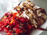 ~ Roasted Chicken with Orange Basil Butter Rub and Oven Roasted Red Peppers ~