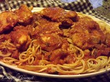 Sweet Chicken with Crushed Tomatoes Sauce and Spaghetti