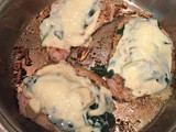 Easy Weeknight One Skillet Pork Chops with Spinach & Havarti