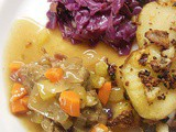 German Beef Roulade with Potatoes and Red Cabbage
