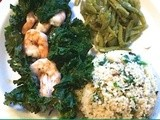 Kale Wrapped Shrimp Sauteed in Wine and Garlic