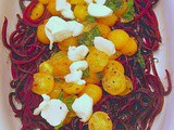Roasted Beet Noodles with Yellow Tomatoes