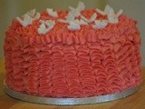 Nicola's Birthday Cake: Triple Layer Chocolate Cake with Ruffled Pink Icing