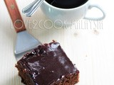 Mocha Almond Brownies with Chocolate Sauce Topping