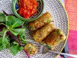 Pea Croquettes with Spicy tomato relish