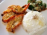 Grilled Garlic Prawns With Baked Cheesy Broccoli Recipe