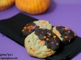 Chocolate Dipped Halloween Chip Cookies