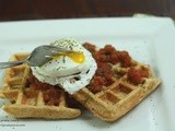 Cornmeal-Herb Waffles with Salsa and Poached Eggs