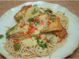 Pan Fried Tilapia Over Angel Hair Pasta With Jalapeno Cream Sauce