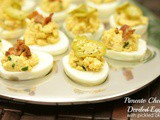 Pimento Cheese Deviled Eggs with Pickled Okra