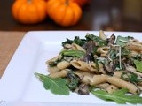 Pumpkin Penne with Arugula, Mushrooms and Romano