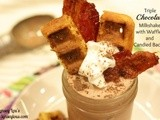 Triple Chocolate Milkshake with Waffles and Candied Bacon
