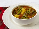 Guvar Phali aur Aloo ki Subzi /  Cluster beans and potatoes in a tomato broth