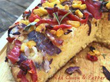 Cheesy Red Onion Pepper Cornbread