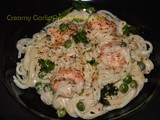Creamy Garlicky Prawn Spaghetti recipe / Creamy Garlic Prawn Pasta Recipe