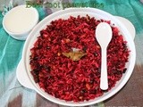 Beet root peanut rice/Easy healthy left over rice recipes/Mahas own recipes/ Step by step pictures/How to make health indian version beet root rice without chili powder for kids