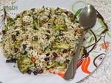 Broccoli peanut rice/Left over rice recipes/Step by step pictures/one pot meals
