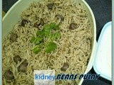 Brown kidney beans pulav/rajma pulao/kidney beans pulav with cilantro mint paste/arroz feijão vermelho/south easy lunch box ideas/south indian rice varities