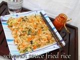 Chinese style vegetarian schewan fried rice/ How to make schezuan  fried rice/Step by step pictures/schezwan cuisine