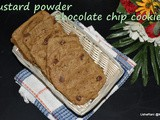 Custard powder chocolate chip cookies | custard powder biscuits | custard cookies | chocolate chip cookies