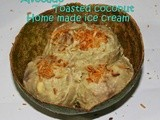 Egg less Avocado toasted coconut ice cream/Simple home made egg free sugar free avocado coconut ice cream/step by step pictures