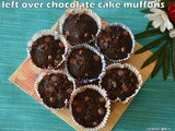 Leftover chocolate cake muffins | leftover cake recipes | muffins with leftover cake | chocolate muffins with yoghurt