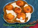 Palak Gravy with Potato Paneer Koftas | Paneer Aloo kofta Spinach Gravy | paneer potato kofta in spinach gravy | Step by step pictures