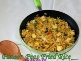 Paneer green peas fried rice/Paneer matar chawal/Ricotta cheese frozen green peas rice/left over rice recipes/Easy spicy paneer mutter fried rice/Paneer and peas health benefits