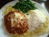 Spaghetti Factory's Meat Sauce and Mizithra Cheese Sauce