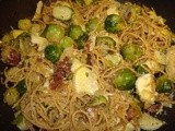 Spaghetti with Bacon, Brussels Sprouts and Artichokes
