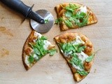 Fig and arugula pizza on naan bread