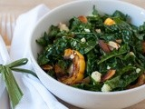Kale salad with delicata squash, almonds and aged cheddar