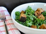 Vegan kale caesar salad with multi-grain croutons