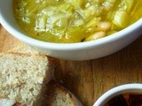 A deceiptively gentle soup: leek and cannellini bean soup with chilli oil
