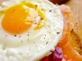 A lazy girl's brunch: smoked salmon and poached egg open face sandwich