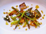 A little home-grown silliness; chargrilled courgettes, leeks and asparagus with lemon and walnuts