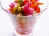 A quick asian-style pickle: cucumber, tomatoes and red onion