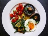 Flying saucer eggs with grilled vine tomatoes, mushrooms and red chard