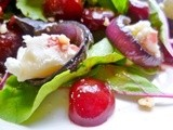 Poached cherry, roasted balsamic red onions and goat's cheese salad with cherry vinaigrette