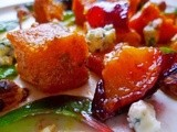 Roasted butternut squash salad with spiced plums, hazelnuts and blue cheese