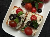 Italian Ricotta Crostini with Olives and Cherry Tomatoes |Party Appetiser | How to make Crostini at Home | Quick and Easy Recipe