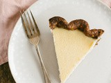 Chamomile buttermilk pie in a chocolate crust