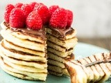 Silver Dollar Pancakes with Nutella and Raspberries
