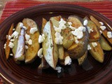 Roasted Rosemary Potato wedges with Goat Cheese Crumbles