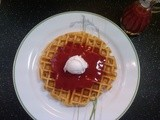 Buttermilk Waffles with Strawberry Sauce