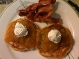 Peach Pancakes and warm peach sauce topping