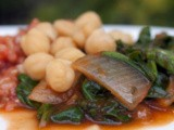 Cooked Spinach with Garbanzo Beans in Red Sauce  (Sabanekh bil Hummus)