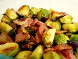 Roasted Brussel Sprouts with Bacon and Red Onions