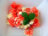 Salata de pepene rosu cu telemea marinata - Watermelon salad with marinated feta