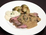 "Curried Flank Steak with Mushrooms and Low-Carb ""Mock"" Mashed Potatoes"